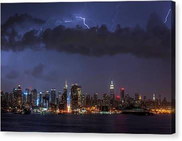Lightning Over New York City I Canvas Print by Clarence Holmes