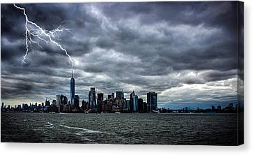 Lightning Over New York Canvas Print by Martin Newman