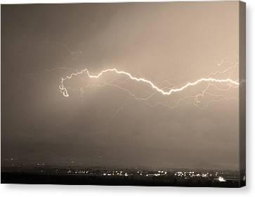 Lightning Over North Boulder Colorado  Ibm Sepia Canvas Print