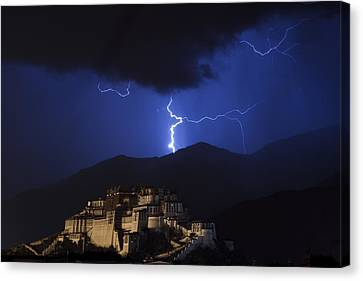 Canvas Print featuring the photograph Lightning Over Potala Palace, Lhasa, 2007 by Hitendra SINKAR