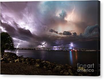 Cj Canvas Print - Lightning Over The Sanibel Bridge by Jon Neidert