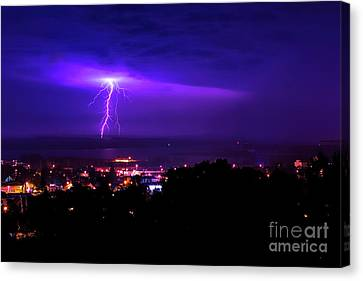 Lightning Over Superior Canvas Print by James Brown