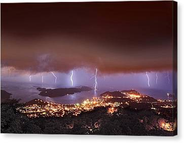 Lightning Over Water Island Canvas Print