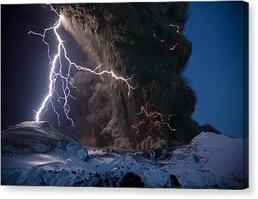 Lightning Pierces The Erupting Canvas Print by Sigurdur H Stefnisson