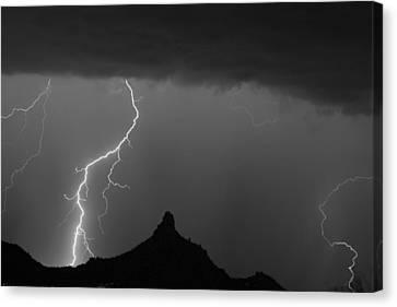 Lightning Storm At Pinnacle Peak Scottsdale Az Bw Canvas Print by James BO  Insogna