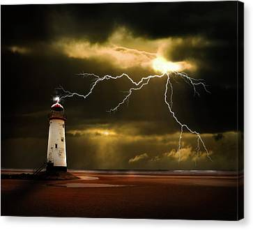 Lightning Storm Canvas Print by Meirion Matthias