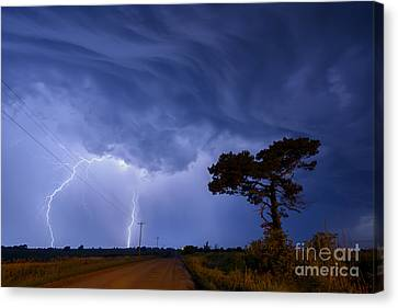 Lightning Storm On A Lonely Country Road Canvas Print