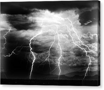 Lightning Storm Over The Plains Canvas Print by Joseph Frank Baraba