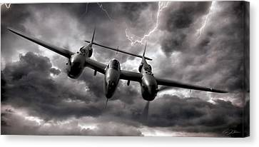 Vintage Airplane Canvas Print - Lightning Strikes Again by Peter Chilelli