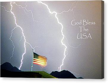 Lightning Strikes God Bless The Usa Canvas Print by James BO  Insogna
