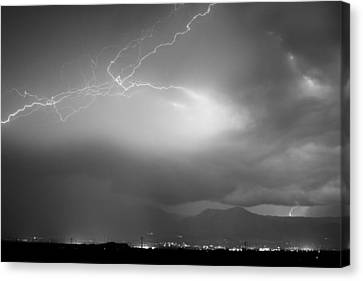 Lightning Strikes Over Boulder Colorado Bw Canvas Print by James BO  Insogna