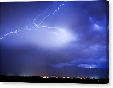 Unusual Lightning Canvas Print - Lightning Strikes Over Boulder Colorado by James BO  Insogna