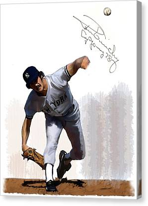 Canvas Print featuring the painting Lightning Strikes Ron Guidry by Iconic Images Art Gallery David Pucciarelli