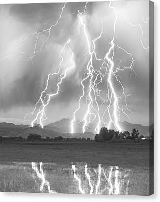 Lightning Striking Longs Peak Foothills 4cbw Canvas Print
