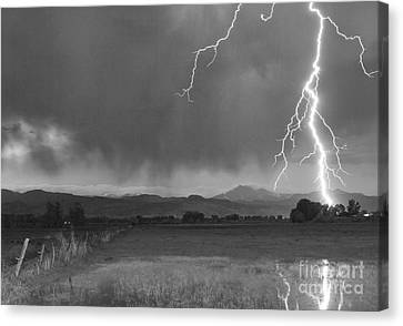 Lightning Striking Longs Peak Foothills 5bw Canvas Print