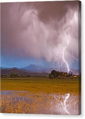 Lightning Striking Longs Peak Foothills 7c Canvas Print by James BO  Insogna