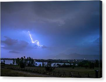 Canvas Print featuring the photograph Lightning Striking Over Boulder Reservoir by James BO Insogna
