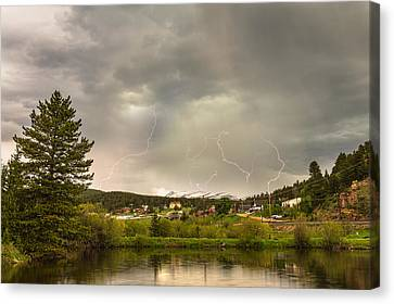 Lightning Striking Over Rollinsville Colorado Canvas Print by James BO  Insogna