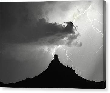 Lightning Striking Pinnacle Peak Arizona Canvas Print