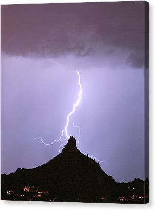 Lightning Striking Pinnacle Peak Scottsdale Az Canvas Print