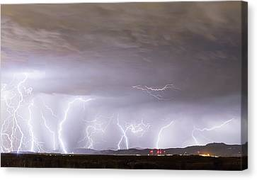 Lightning Thunderstorm Extreme Weather Over Golden Colorado Canvas Print by James BO Insogna