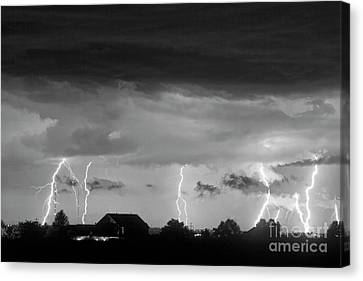 The Lightning Man Canvas Print - Lightning Thunderstorm July 12 2011 Strikes Over The City Bw by James BO  Insogna