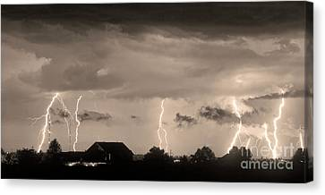 The Lightning Man Canvas Print - Lightning Thunderstorm July 12 2011 Strikes Over The City Sepia by James BO  Insogna