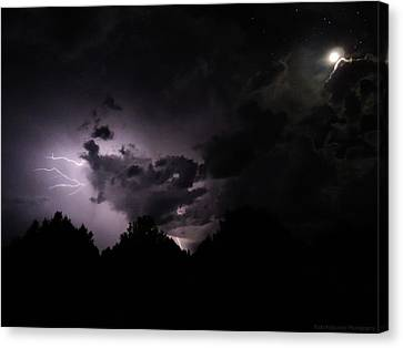 Lightning With Stars And Moon  Canvas Print by Todd Krasovetz