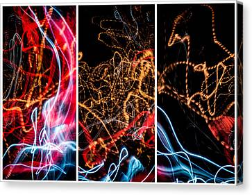 Lightpainting Triptych Wall Art Print Photograph 5 Canvas Print by John Williams