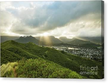 Lightrays Over Ko'olau Mountains Canvas Print by Charmian Vistaunet