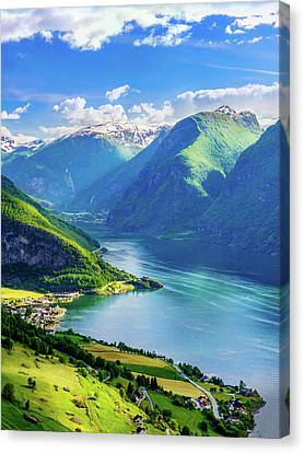Canvas Print featuring the photograph Lights And Shadows Of Sognefjord by Dmytro Korol
