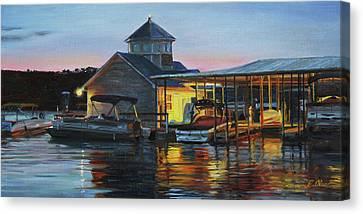 Lights At The Cliffs Marina Canvas Print