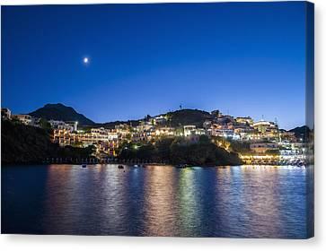 Sea Moon Full Moon Canvas Print - Lights Illuminate The City And Reflect by Dosfotos