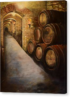 Canvas Print featuring the painting Lights In The Wine Cellar - Chateau Meichtry Vineyard by Jan Dappen