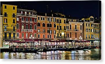 Lights Of Venice Canvas Print by Frozen in Time Fine Art Photography