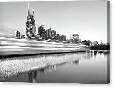 Downtown Nashville Canvas Print - Lights On The Cumberland River - Nashville Tennessee Skyline - Black And White Edition by Gregory Ballos