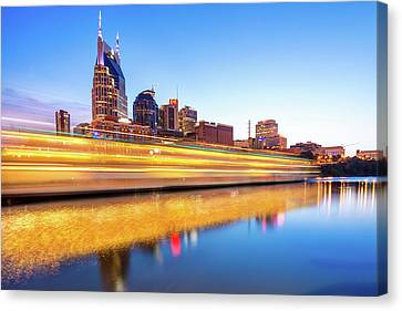 Downtown Nashville Canvas Print - Lights On The Cumberland River - Nashville Tennessee Skyline  by Gregory Ballos