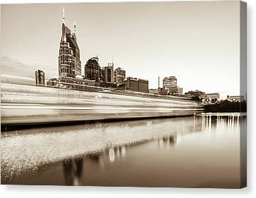 Downtown Nashville Canvas Print - Lights On The Cumberland River - Nashville Tennessee Skyline - Sepia Edition by Gregory Ballos