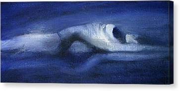 Canvas Print featuring the painting Like A Dolphin by Jarmo Korhonen aka Jarko