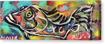 Lil Funky Folk Fish Number Eleven Canvas Print by Robert Wolverton Jr