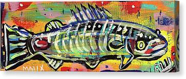 Lil' Funky Folk Fish Number Ten Canvas Print by Robert Wolverton Jr