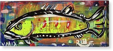 Lil Funky Folk Fish Number Twelve Canvas Print by Robert Wolverton Jr