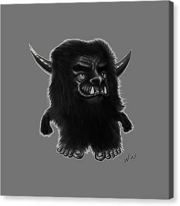 Lil Fuzzy Monster Black Ver. Canvas Print by Winston Wesley Art
