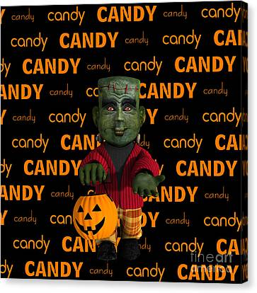 Lil Monster Halloween Canvas Print by Methune Hively