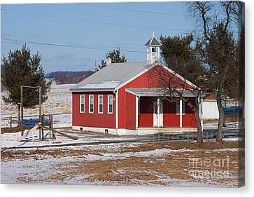 Lil Red School House Canvas Print by Robert Sander