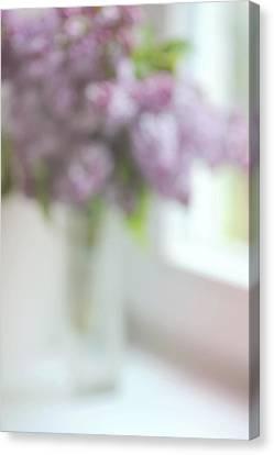 Lilac At The Window. Impressionism Canvas Print by Jenny Rainbow