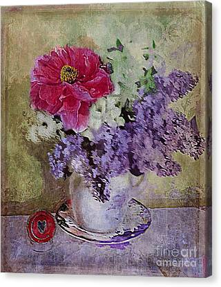 Canvas Print featuring the digital art Lilac Bouquet by Alexis Rotella