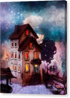 Canvas Print featuring the painting Lilac Hill by Mo T