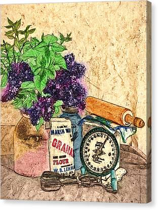 Lilac In Pantry Canvas Print by John K Woodruff