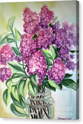 Canvas Print featuring the painting Lilac On The Kitchen Table by Inese Poga